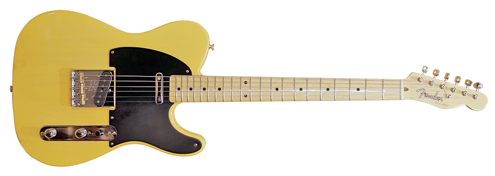 A Fender Telecaster in the classic butterscotch finish with black scratchplate