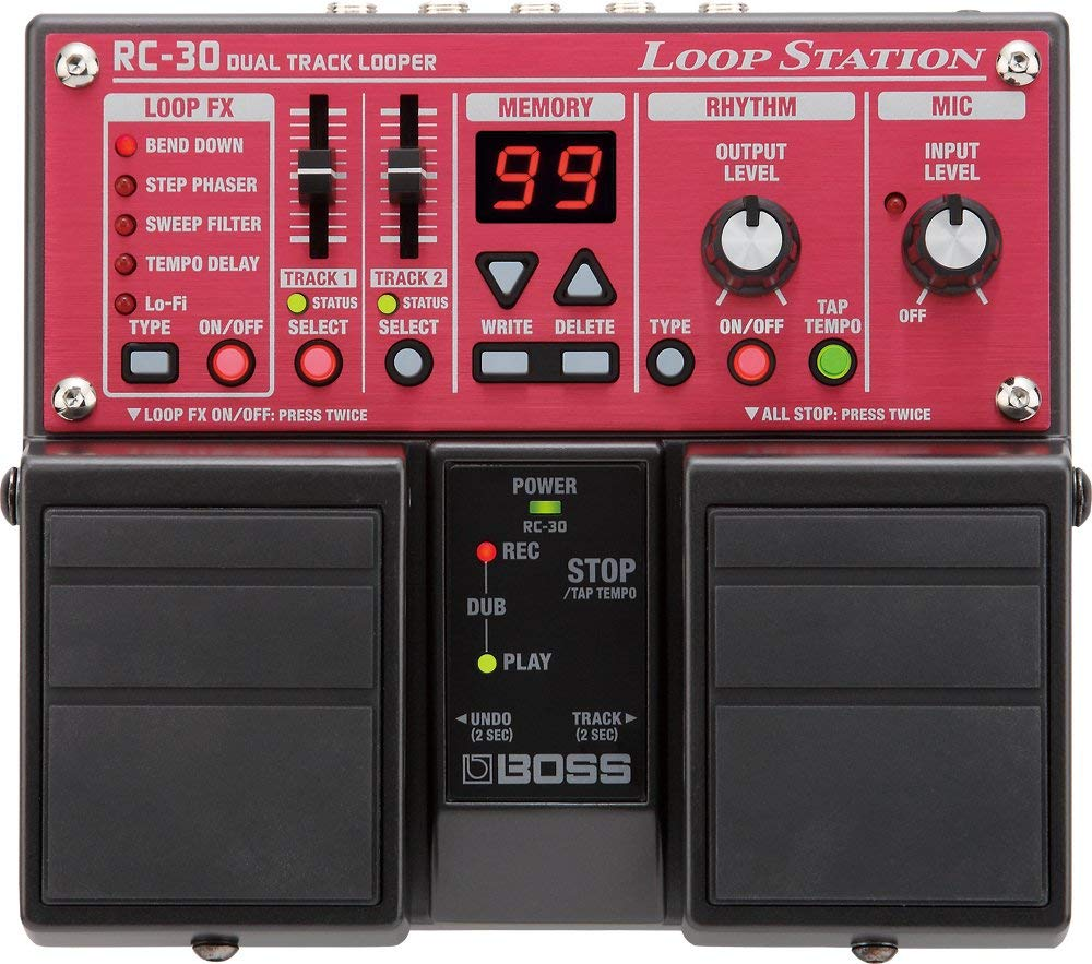 Birdseye view of the Boss RC-30, one of the best guitar looper pedals for nearly 10 years