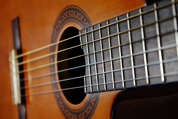 close up of nylon string acoustic guitar